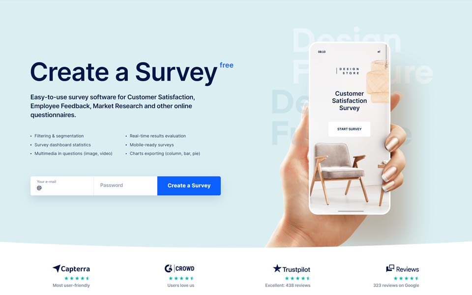Survio is an online survey service that was formally launched in April 2012. We've developed a free and easy tool for any type of online survey. The product provides plenty of ready-made survey templates, layouts and styles.